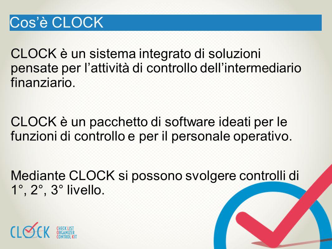Cos'è CLOCK CLOCK è un sistema integrato di soluzioni pensate per l'attività di controllo dell'intermediario finanziario. CLOCK è un pacchetto di soft