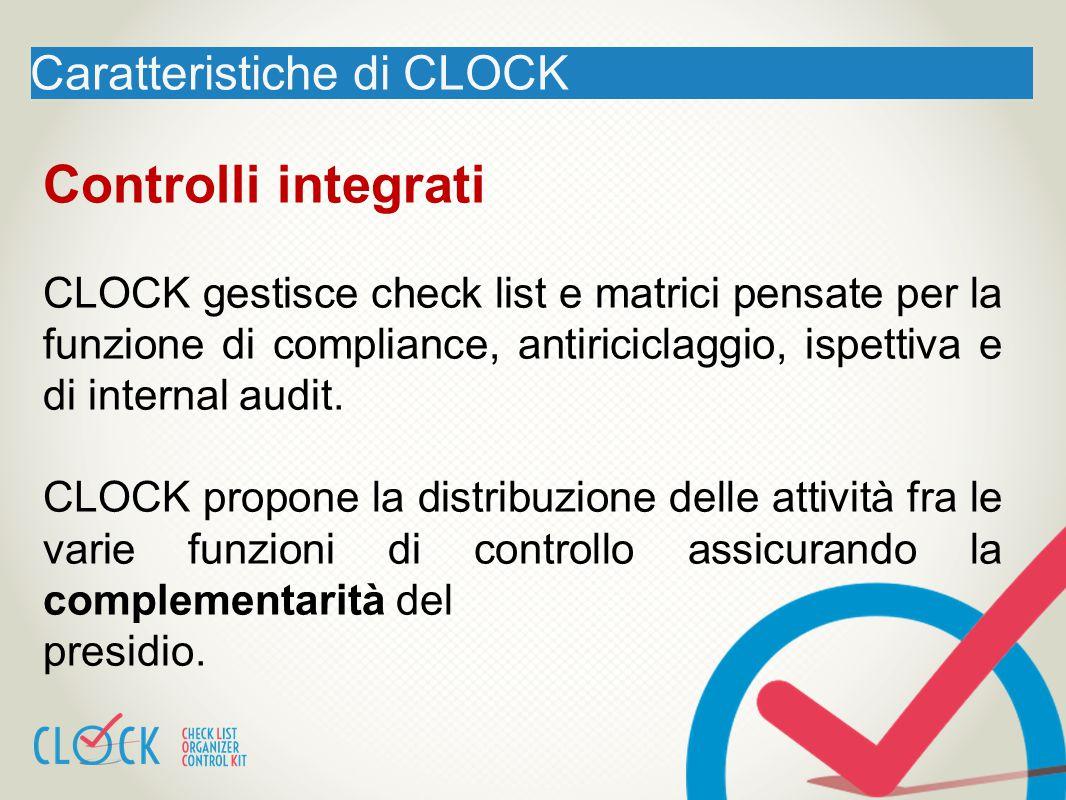 Caratteristiche di CLOCK Controlli integrati CLOCK gestisce check list e matrici pensate per la funzione di compliance, antiriciclaggio, ispettiva e d