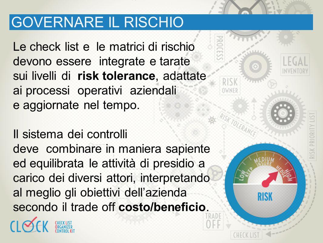 GOVERNARE IL RISCHIO Le check list e le matrici di rischio devono essere integrate e tarate sui livelli di risk tolerance, adattate ai processi operat