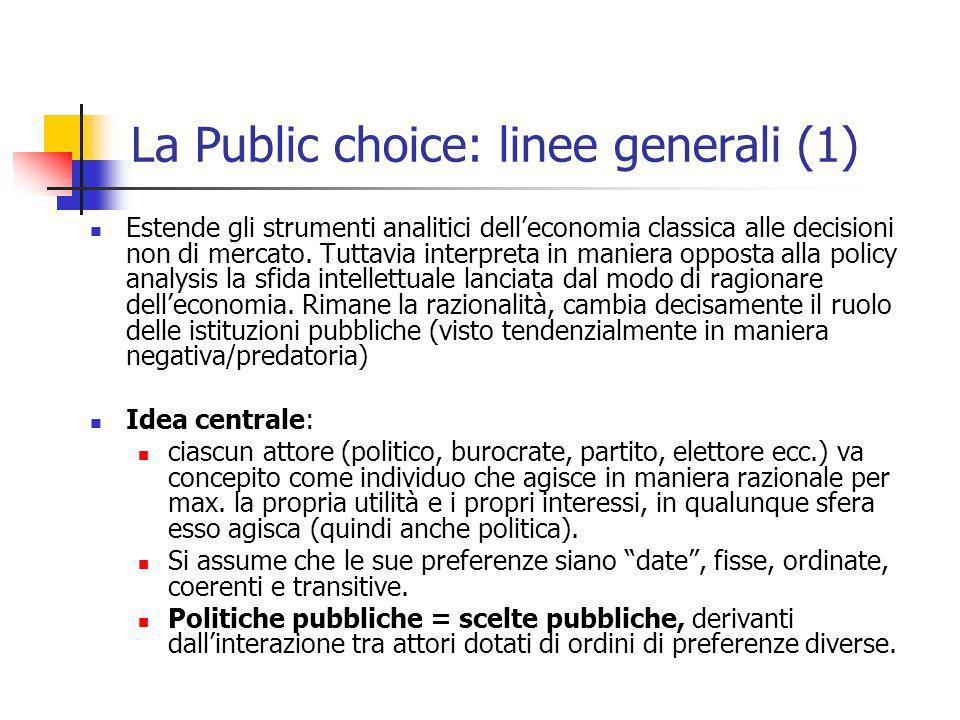 Public choice: linee generali (2) Implicazioni per la ricerca: Il problema è capire come le preferenze individuali vengano aggregate in una scelta pubblica (nel senso di collettivamente rilevante e vincolante).