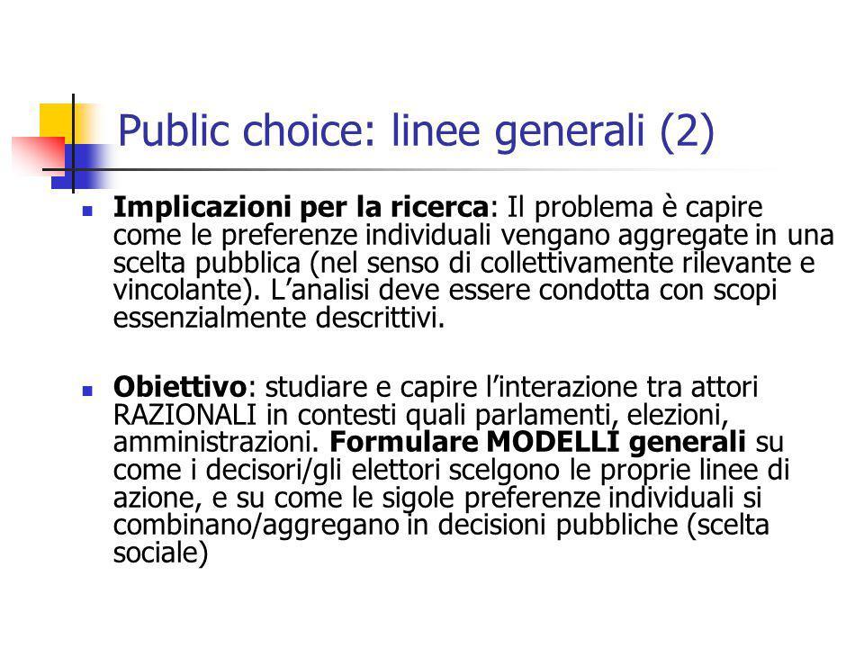 Public choice: linee generali (2) Implicazioni per la ricerca: Il problema è capire come le preferenze individuali vengano aggregate in una scelta pub