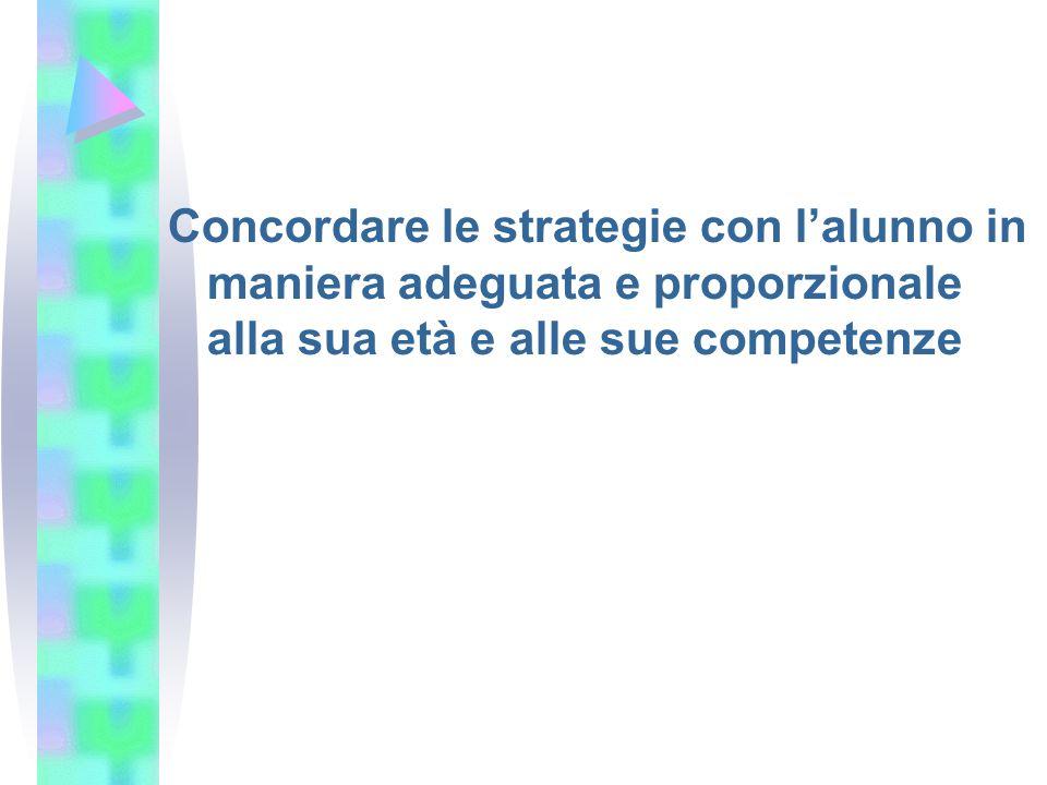 Concordare le strategie con l'alunno in maniera adeguata e proporzionale alla sua età e alle sue competenze