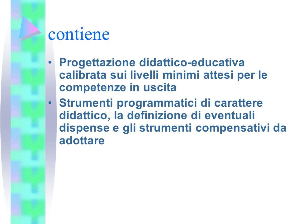 contiene Progettazione didattico-educativa calibrata sui livelli minimi attesi per le competenze in uscita Strumenti programmatici di carattere didatt