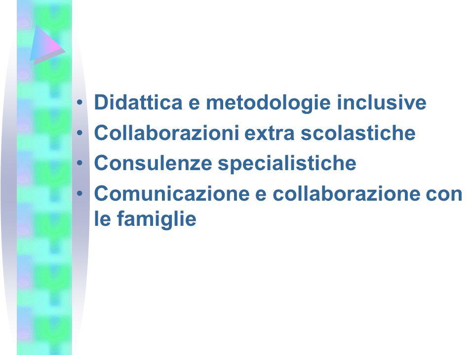 Didattica e metodologie inclusive Collaborazioni extra scolastiche Consulenze specialistiche Comunicazione e collaborazione con le famiglie