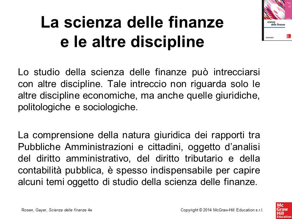 Copyright © 2014 McGraw-Hill Education s.r.l.Rosen, Gayer, Scienza delle finanze 4e Lo studio della scienza delle finanze può intrecciarsi con altre d
