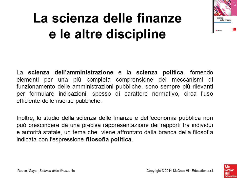 Copyright © 2014 McGraw-Hill Education s.r.l.Rosen, Gayer, Scienza delle finanze 4e La scienza dell'amministrazione e la scienza politica, fornendo el