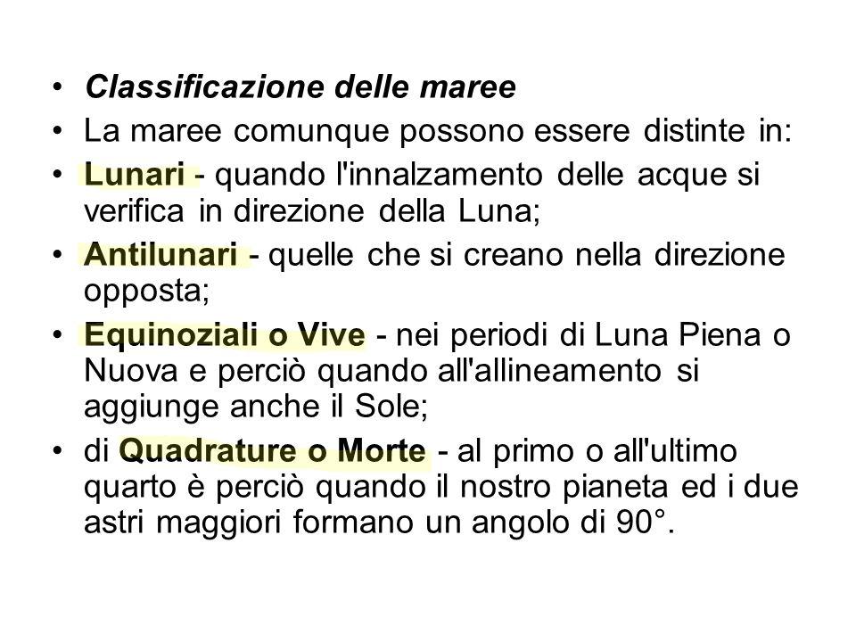 Classificazione delle maree La maree comunque possono essere distinte in: Lunari - quando l'innalzamento delle acque si verifica in direzione della Lu