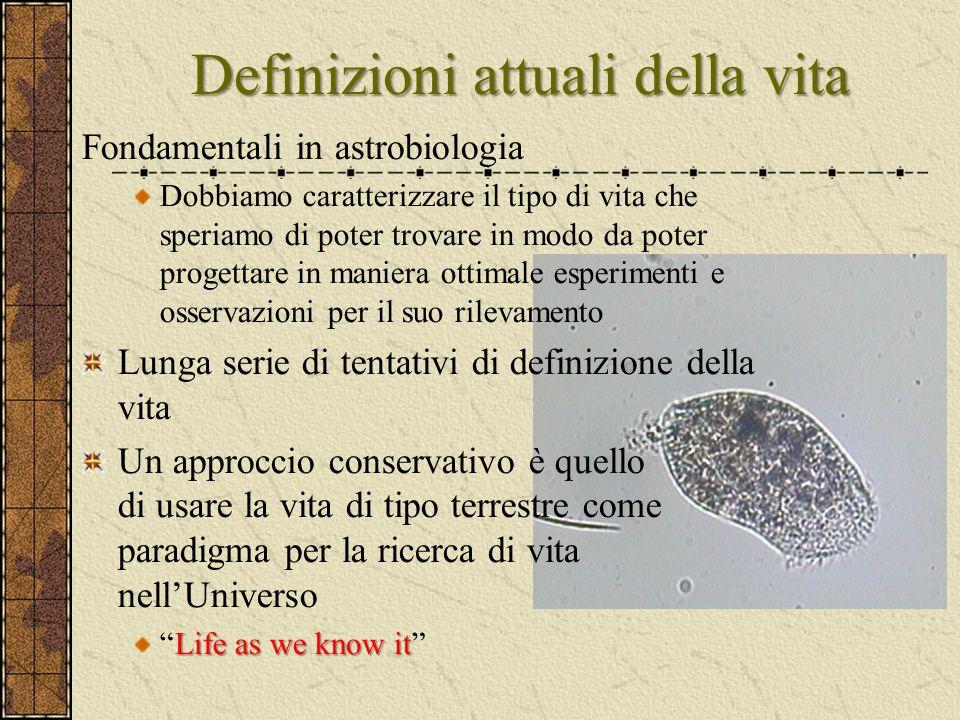 Definizioni attuali della vita Fondamentali in astrobiologia Dobbiamo caratterizzare il tipo di vita che speriamo di poter trovare in modo da poter pr