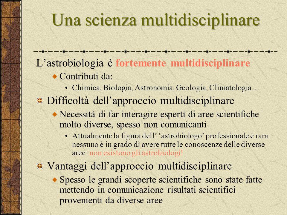 Una scienza multidisciplinare L'astrobiologia è fortemente multidisciplinare Contributi da: Chimica, Biologia, Astronomia, Geologia, Climatologia… Dif