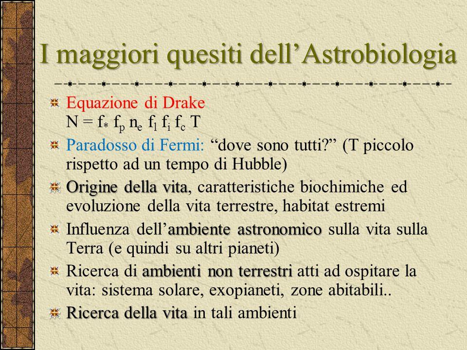 """I maggiori quesiti dell'Astrobiologia Equazione di Drake N = f * f p n e f l f i f c T Paradosso di Fermi: """"dove sono tutti?"""" (T piccolo rispetto ad u"""