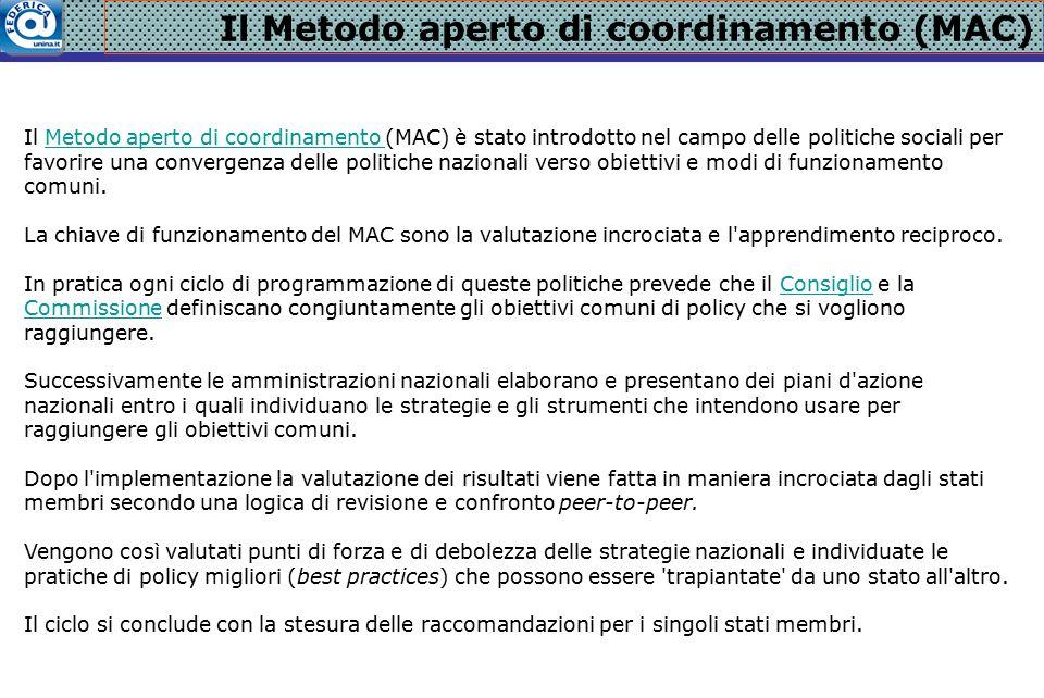 Il Metodo aperto di coordinamento (MAC) Il Metodo aperto di coordinamento (MAC) è stato introdotto nel campo delle politiche sociali per favorire una convergenza delle politiche nazionali verso obiettivi e modi di funzionamento comuni.Metodo aperto di coordinamento La chiave di funzionamento del MAC sono la valutazione incrociata e l apprendimento reciproco.