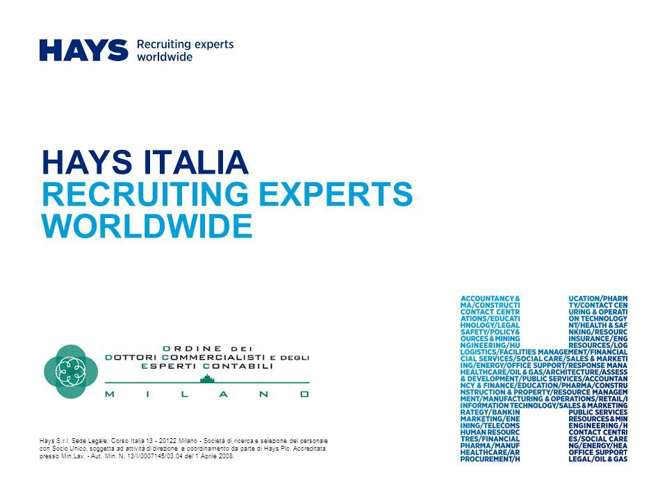 HAYS ITALIA RECRUITING EXPERTS WORLDWIDE Hays S.r.l.