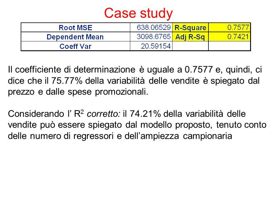 Case study Il coefficiente di determinazione è uguale a 0.7577 e, quindi, ci dice che il 75.77% della variabilità delle vendite è spiegato dal prezzo e dalle spese promozionali.