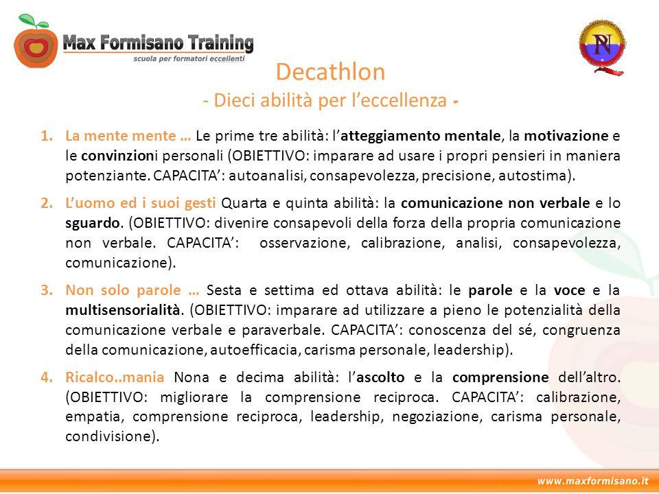 Decathlon - Dieci abilità per l'eccellenza - 1.La mente mente … Le prime tre abilità: l'atteggiamento mentale, la motivazione e le convinzioni persona