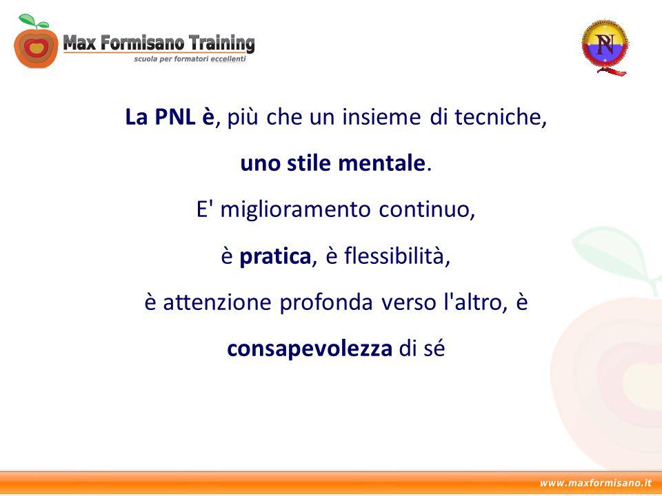 La PNL è, più che un insieme di tecniche, uno stile mentale. E' miglioramento continuo, è pratica, è flessibilità, è attenzione profonda verso l'altro