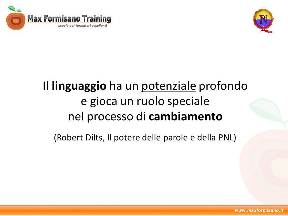 Il linguaggio ha un potenziale profondo e gioca un ruolo speciale nel processo di cambiamento (Robert Dilts, Il potere delle parole e della PNL)