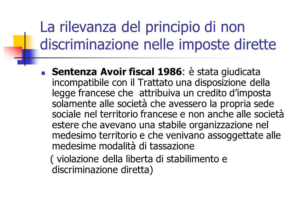 La rilevanza del principio di non discriminazione nelle imposte dirette Sentenza Avoir fiscal 1986: è stata giudicata incompatibile con il Trattato un