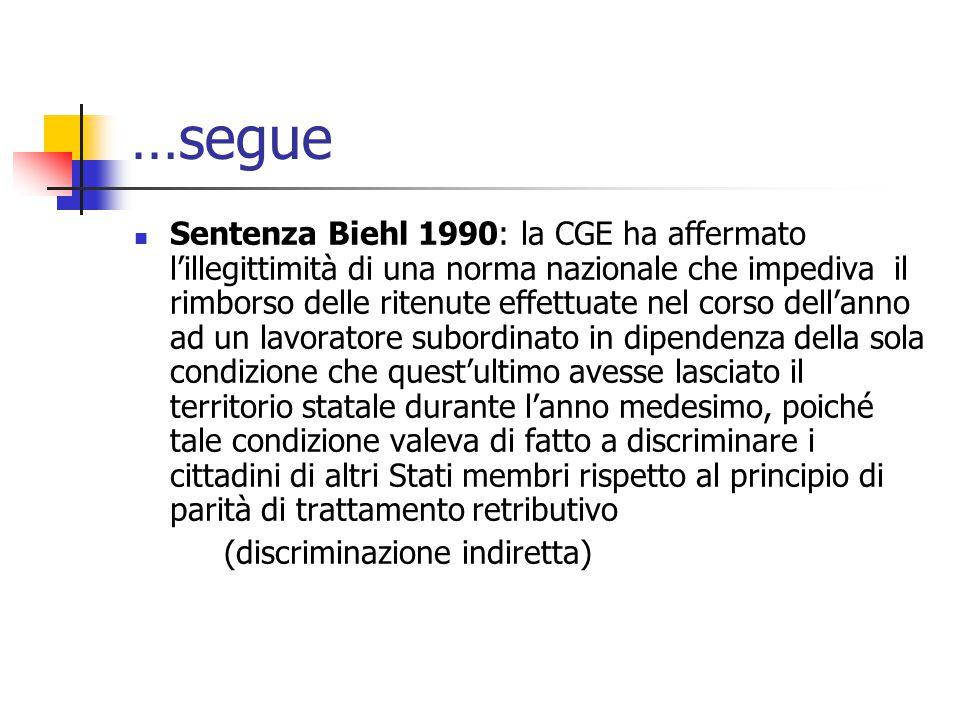 …segue Sentenza Biehl 1990: la CGE ha affermato l'illegittimità di una norma nazionale che impediva il rimborso delle ritenute effettuate nel corso de