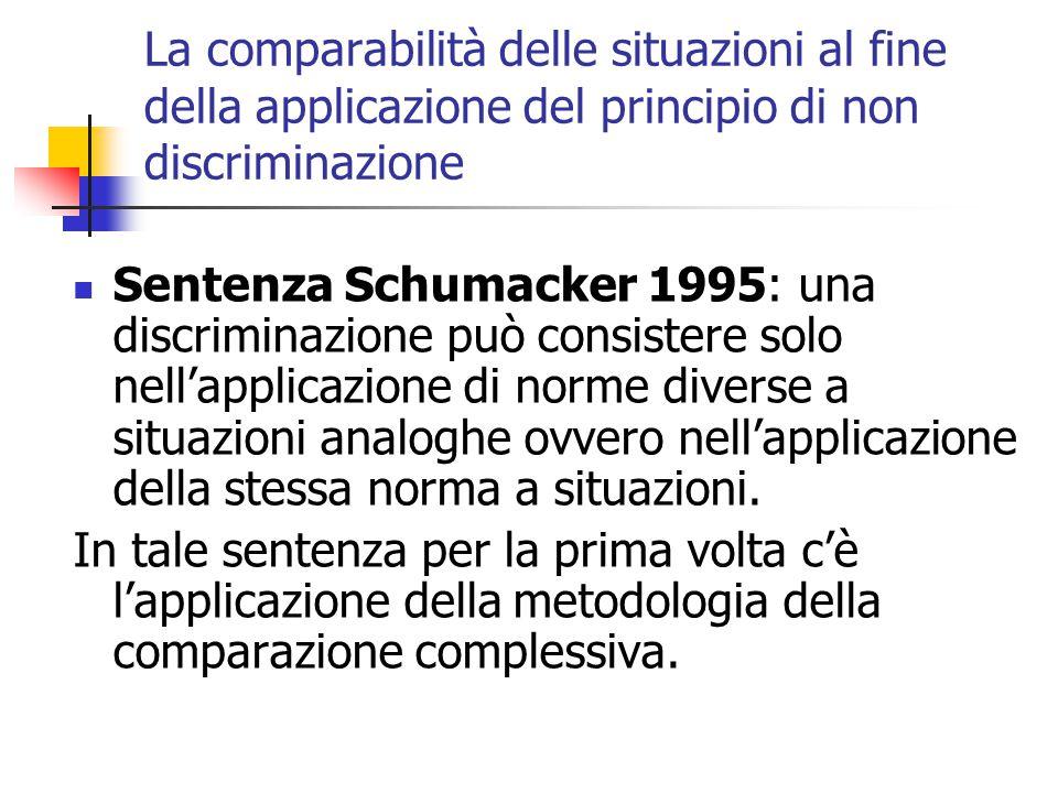 La comparabilità delle situazioni al fine della applicazione del principio di non discriminazione Sentenza Schumacker 1995: una discriminazione può co