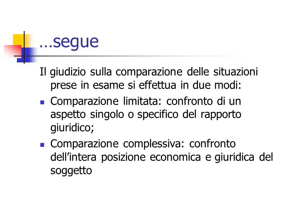…segue Il giudizio sulla comparazione delle situazioni prese in esame si effettua in due modi: Comparazione limitata: confronto di un aspetto singolo