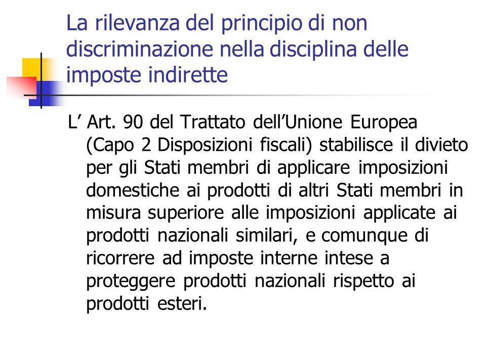 La rilevanza del principio di non discriminazione nella disciplina delle imposte indirette L' Art. 90 del Trattato dell'Unione Europea (Capo 2 Disposi
