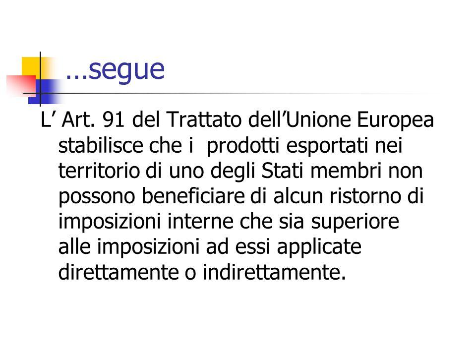 …segue L' Art. 91 del Trattato dell'Unione Europea stabilisce che i prodotti esportati nei territorio di uno degli Stati membri non possono beneficiar