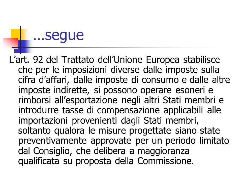 …segue L'art. 92 del Trattato dell'Unione Europea stabilisce che per le imposizioni diverse dalle imposte sulla cifra d'affari, dalle imposte di consu
