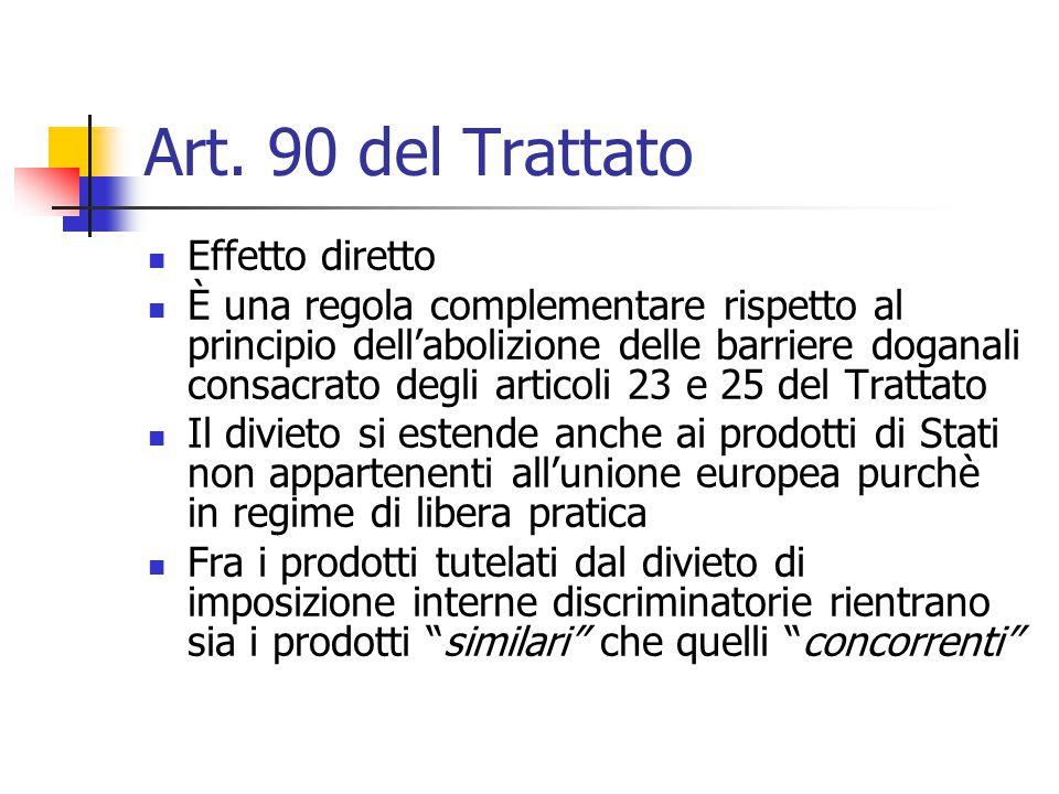 Art. 90 del Trattato Effetto diretto È una regola complementare rispetto al principio dell'abolizione delle barriere doganali consacrato degli articol