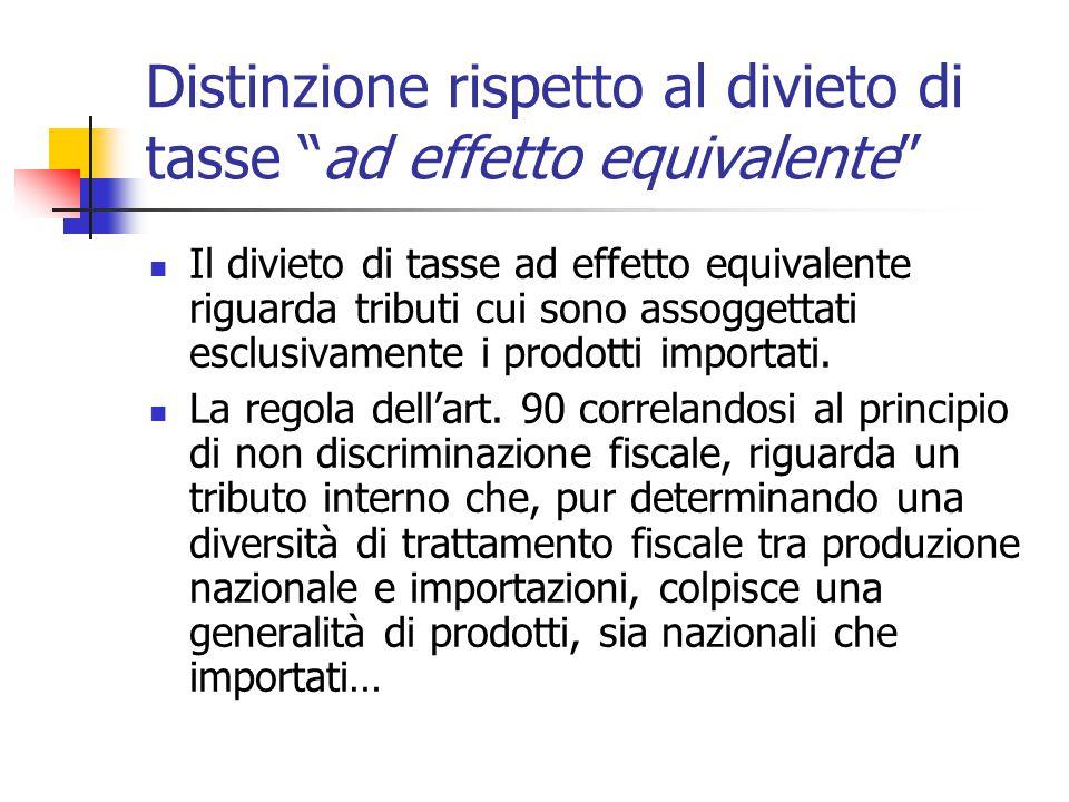 """Distinzione rispetto al divieto di tasse """"ad effetto equivalente"""" Il divieto di tasse ad effetto equivalente riguarda tributi cui sono assoggettati es"""