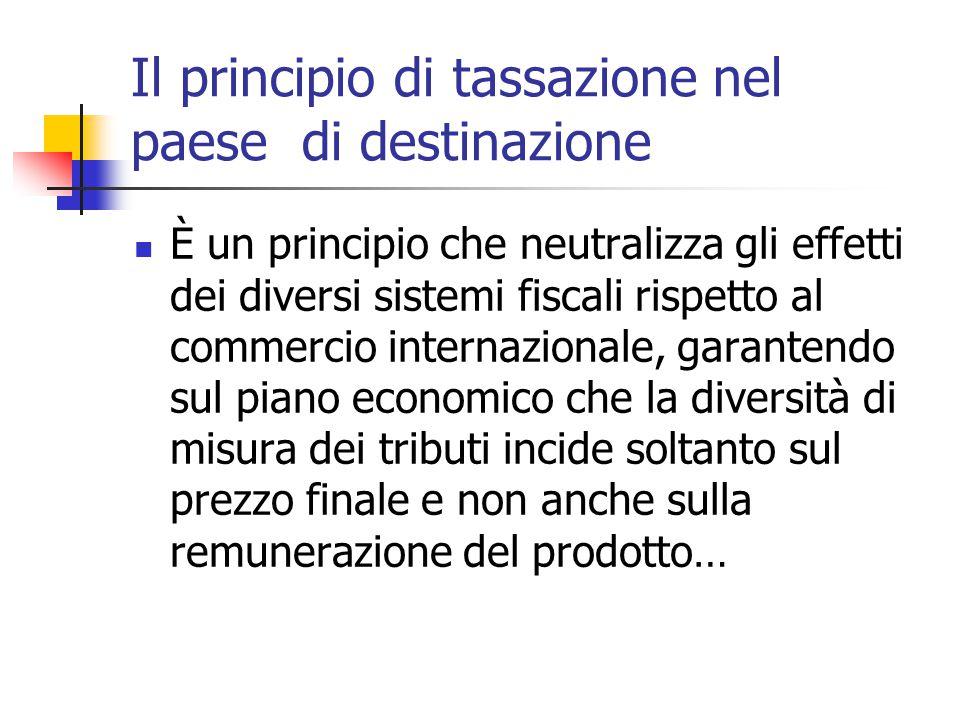 Il principio di tassazione nel paese di destinazione È un principio che neutralizza gli effetti dei diversi sistemi fiscali rispetto al commercio inte