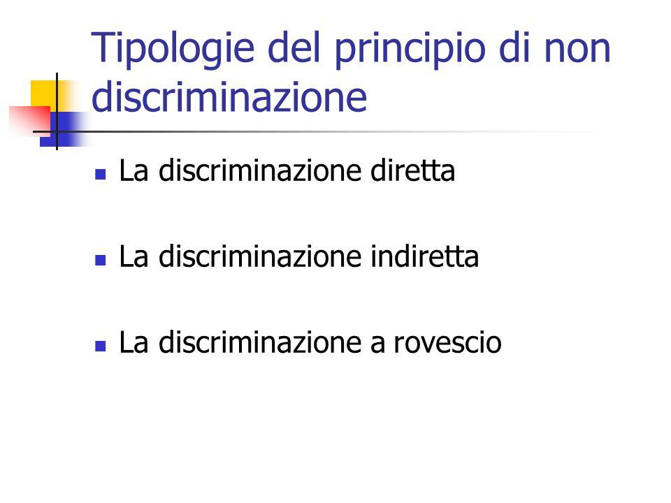 Discriminazione diretta La discriminazione diretta si verifica quando la norma nazionale realizza un trattamento discriminatorio in ragione della nazionalità o della cittadinanza del soggetto