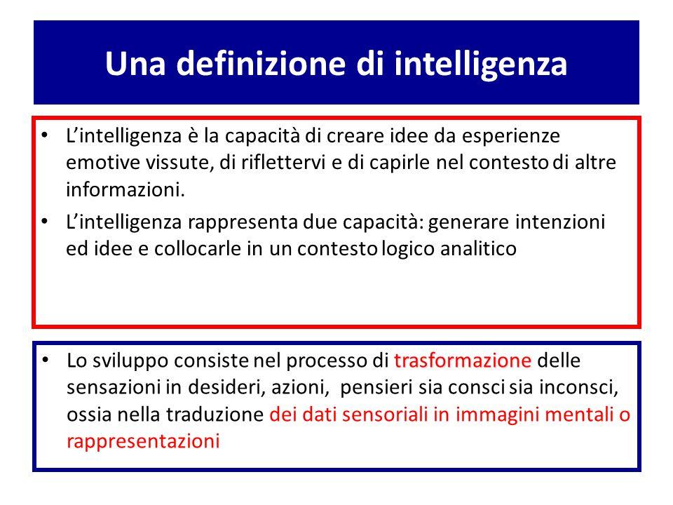 Una definizione di intelligenza L'intelligenza è la capacità di creare idee da esperienze emotive vissute, di riflettervi e di capirle nel contesto di