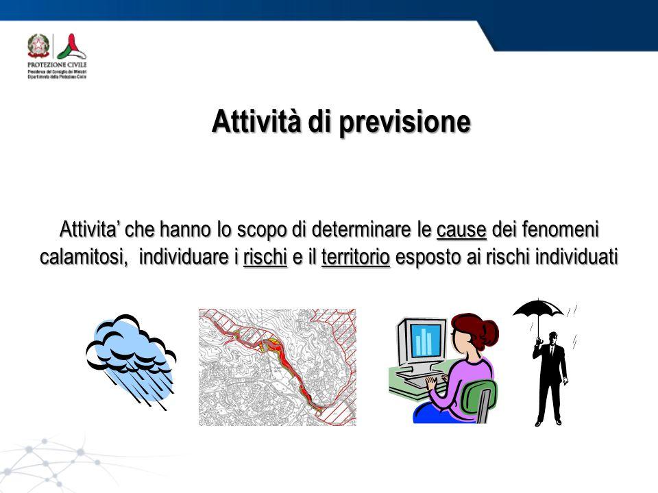 Attività di previsione Attivita' che hanno lo scopo di determinare le cause dei fenomeni calamitosi, individuare i rischi e il territorio esposto ai rischi individuati