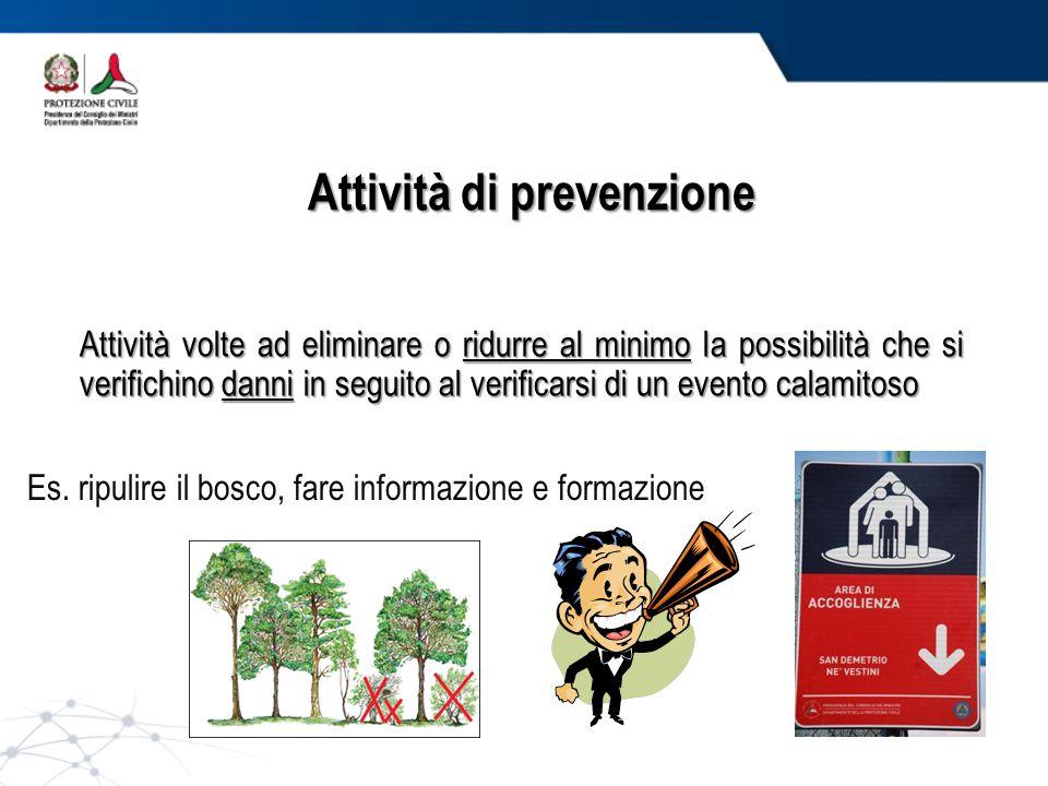 Attività di prevenzione Es. ripulire il bosco, fare informazione e formazione Attività volte ad eliminare o ridurre al minimo la possibilità che si ve