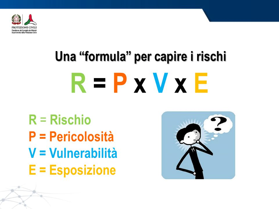 Una formula per capire i rischi R = P x V x E R = Rischio P = Pericolosità V = Vulnerabilità E = Esposizione