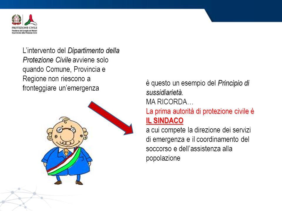 Dipartimento della Protezione Civile L'intervento del Dipartimento della Protezione Civile avviene solo quando Comune, Provincia e Regione non riescon