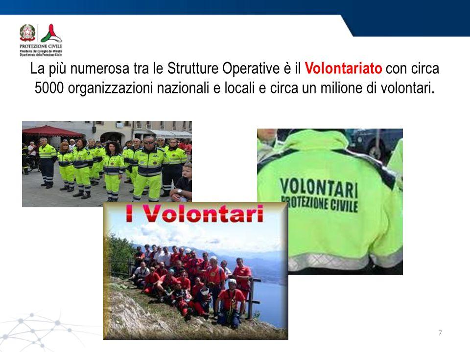 LA LOTTA AGLI INCENDI BOSCHIVI Campi scuola Anch'io sono la protezione civile 7 La più numerosa tra le Strutture Operative è il Volontariato con circa 5000 organizzazioni nazionali e locali e circa un milione di volontari.