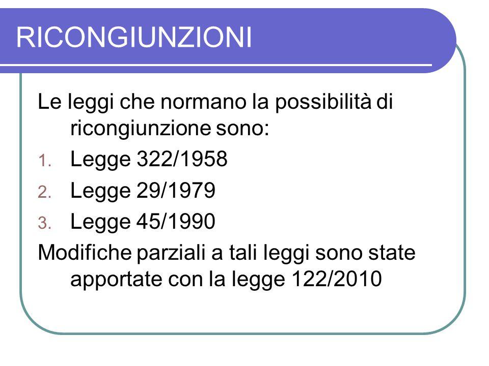 RICONGIUNZIONI Le leggi che normano la possibilità di ricongiunzione sono: 1. Legge 322/1958 2. Legge 29/1979 3. Legge 45/1990 Modifiche parziali a ta