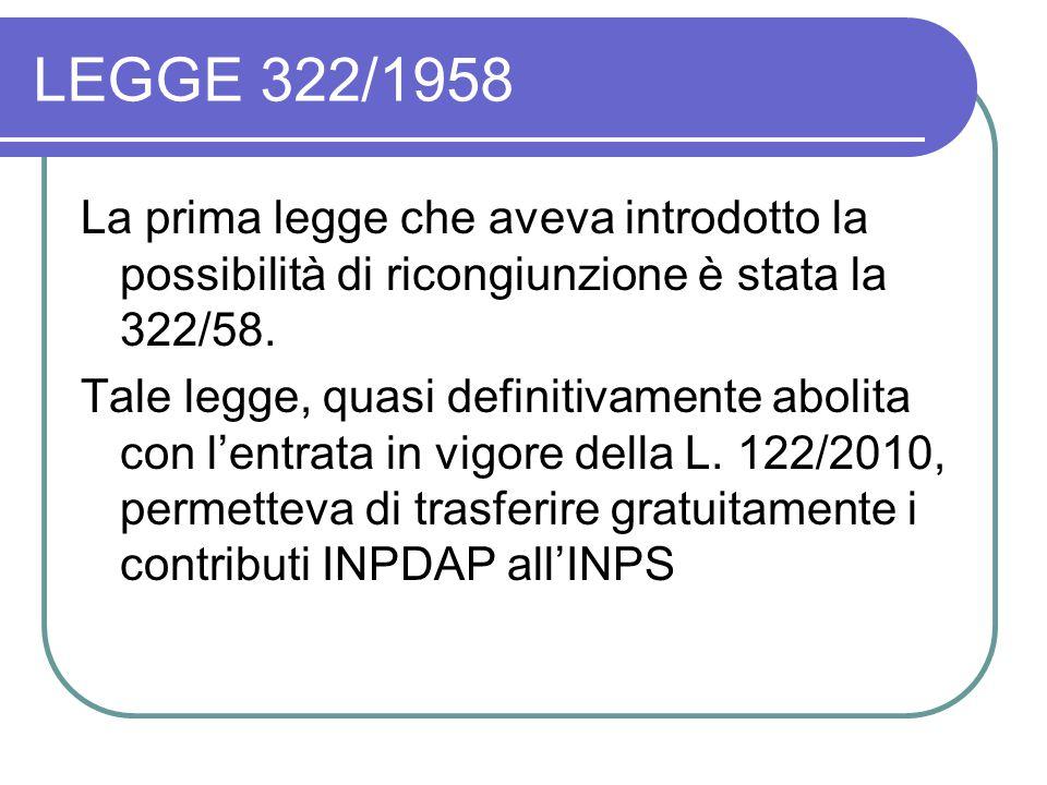 LEGGE 322/1958 La prima legge che aveva introdotto la possibilità di ricongiunzione è stata la 322/58. Tale legge, quasi definitivamente abolita con l