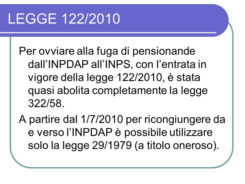 LEGGE 122/2010 Per ovviare alla fuga di pensionande dall'INPDAP all'INPS, con l'entrata in vigore della legge 122/2010, è stata quasi abolita completamente la legge 322/58.