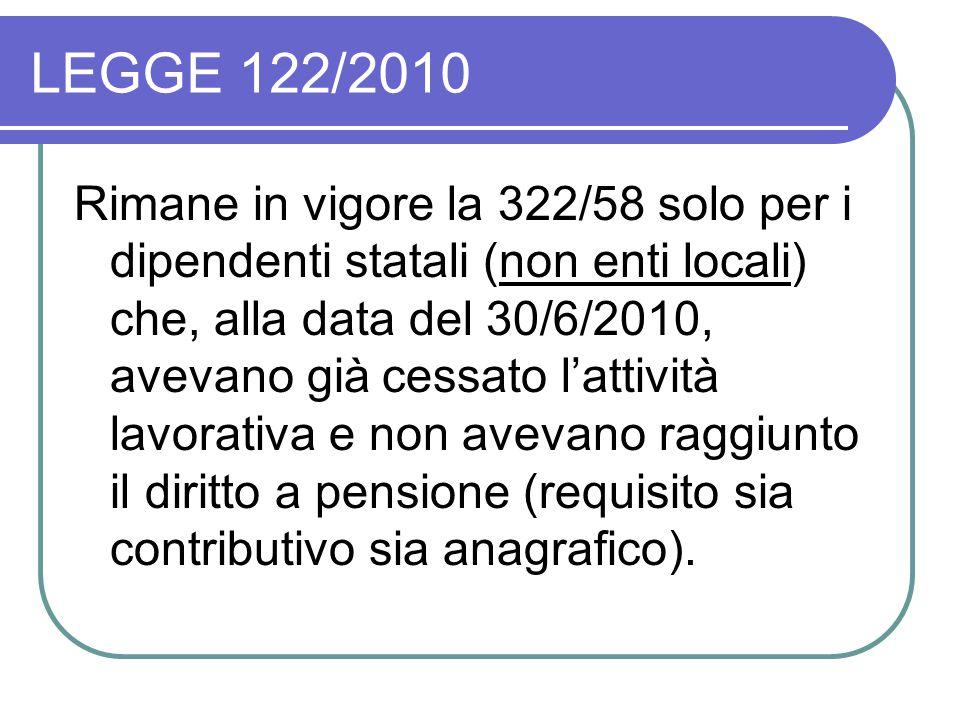 LEGGE 122/2010 Rimane in vigore la 322/58 solo per i dipendenti statali (non enti locali) che, alla data del 30/6/2010, avevano già cessato l'attività lavorativa e non avevano raggiunto il diritto a pensione (requisito sia contributivo sia anagrafico).