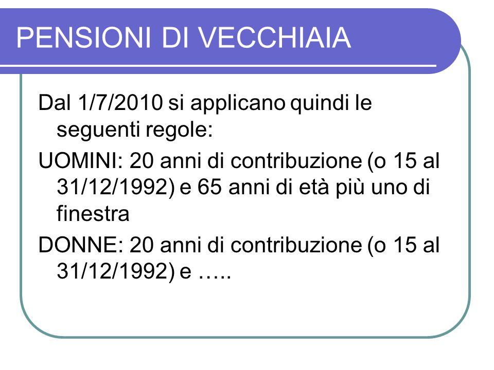 PENSIONI DI VECCHIAIA Dal 1/7/2010 si applicano quindi le seguenti regole: UOMINI: 20 anni di contribuzione (o 15 al 31/12/1992) e 65 anni di età più uno di finestra DONNE: 20 anni di contribuzione (o 15 al 31/12/1992) e …..