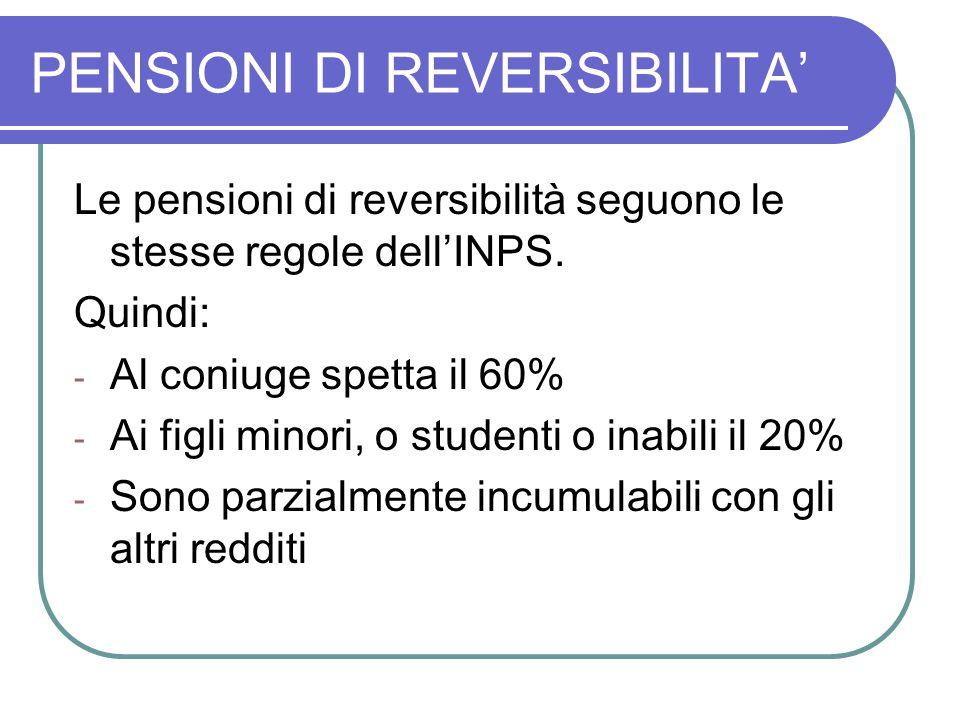 PENSIONI DI REVERSIBILITA' Le pensioni di reversibilità seguono le stesse regole dell'INPS. Quindi: - Al coniuge spetta il 60% - Ai figli minori, o st