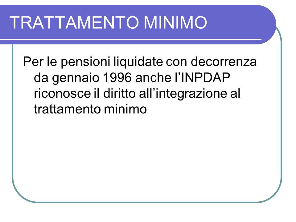 TRATTAMENTO MINIMO Per le pensioni liquidate con decorrenza da gennaio 1996 anche l'INPDAP riconosce il diritto all'integrazione al trattamento minimo