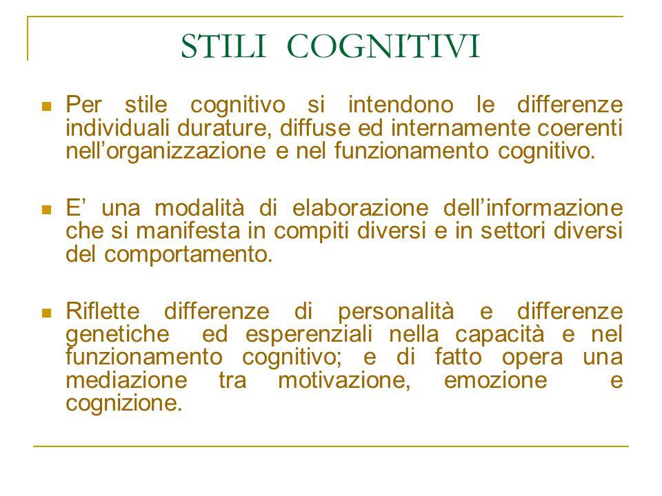 STILI COGNITIVI Per stile cognitivo si intendono le differenze individuali durature, diffuse ed internamente coerenti nell'organizzazione e nel funzionamento cognitivo.