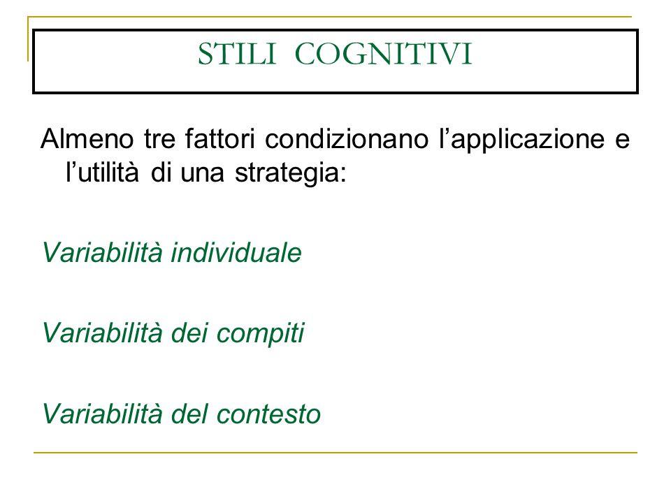 STILI COGNITIVI Almeno tre fattori condizionano l'applicazione e l'utilità di una strategia: Variabilità individuale Variabilità dei compiti Variabilità del contesto