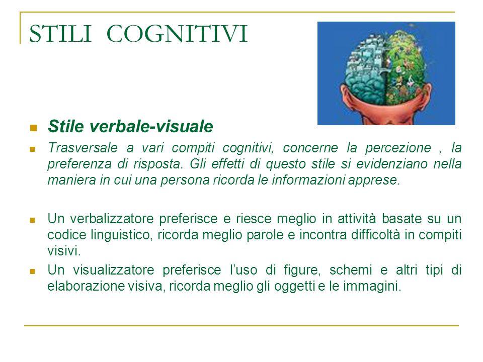 STILI COGNITIVI Stile verbale-visuale Trasversale a vari compiti cognitivi, concerne la percezione, la preferenza di risposta.