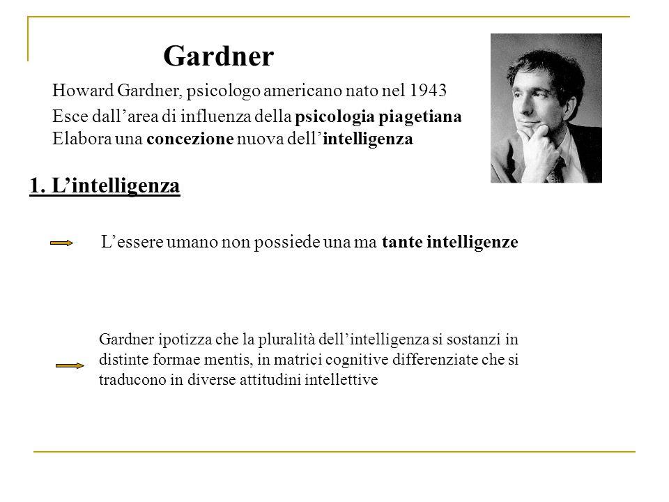 Gardner Howard Gardner, psicologo americano nato nel 1943 Esce dall'area di influenza della psicologia piagetiana Elabora una concezione nuova dell'intelligenza 1.