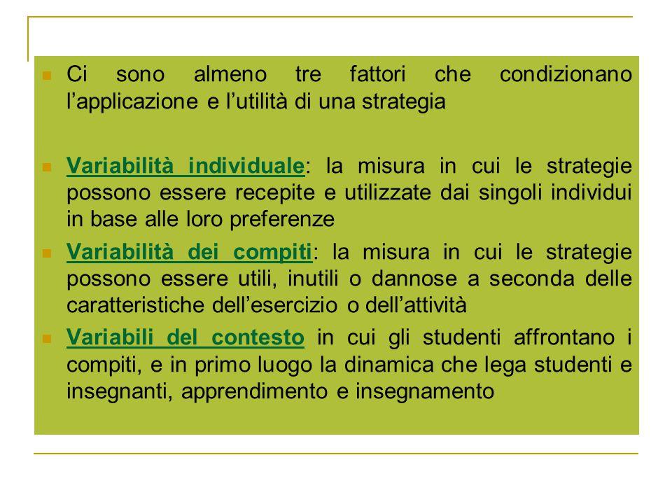 Ci sono almeno tre fattori che condizionano l'applicazione e l'utilità di una strategia Variabilità individuale: la misura in cui le strategie possono essere recepite e utilizzate dai singoli individui in base alle loro preferenze Variabilità dei compiti: la misura in cui le strategie possono essere utili, inutili o dannose a seconda delle caratteristiche dell'esercizio o dell'attività Variabili del contesto in cui gli studenti affrontano i compiti, e in primo luogo la dinamica che lega studenti e insegnanti, apprendimento e insegnamento