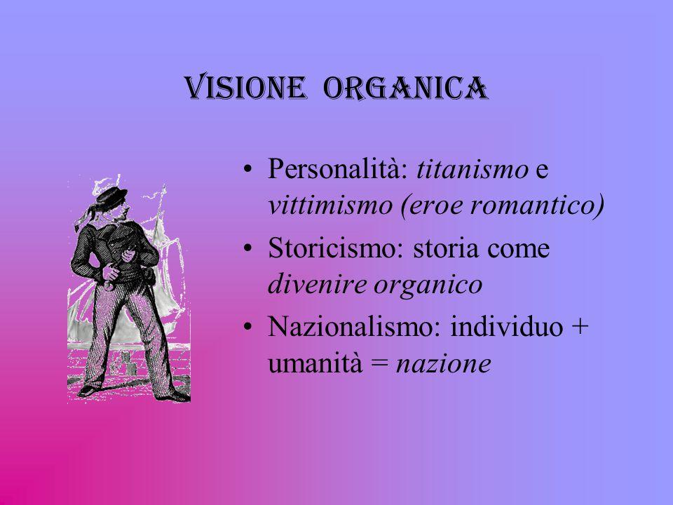 Visione organica Personalità: titanismo e vittimismo (eroe romantico) Storicismo: storia come divenire organico Nazionalismo: individuo + umanità = nazione